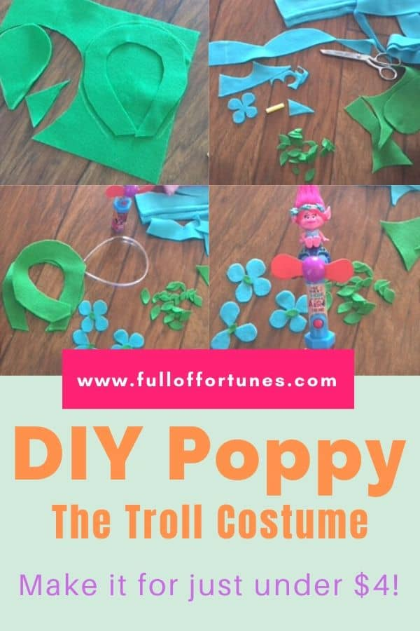 4 quadrant step by step tutorial on how to sew a Poppy Troll Costume using felt material