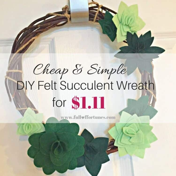 Cheap & Simple DIY Succulent Wreath for $1.11