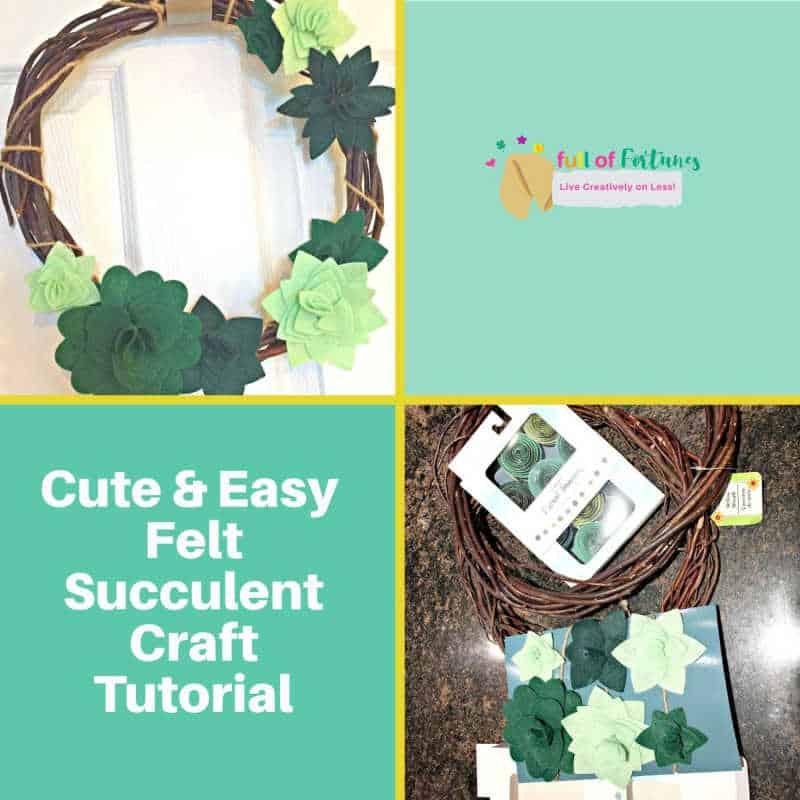 Cute & Easy Felt Succulent Wreath Craft Tutorial