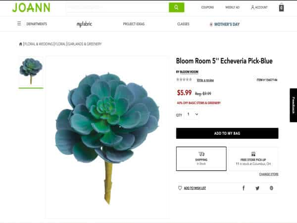This is a screenshot of a Faux Echevaria Succulent stem from Joann.com.