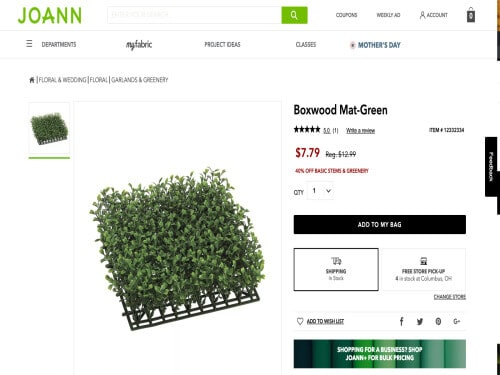 This is a screenshot of a faux boxwood grass mat from Michaels.com