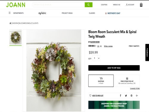 screenshot of inspired faux succulent wreath from Joann.com