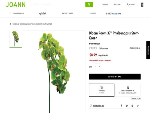 This is a screenshot of a faux green orchid stem from Joann.com.
