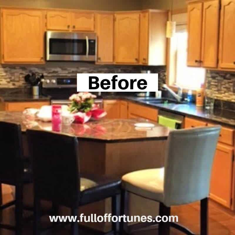 Honey oak kitchen cabinets before remodel