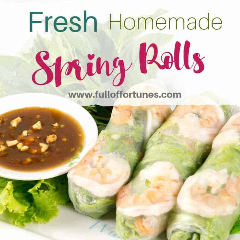 Fresh Homemade Vietnamese Spring Roll with Hoisin Peanut Sauce