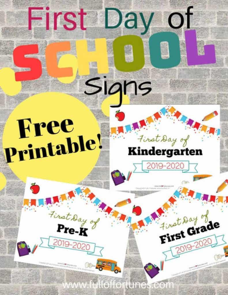 Grab these Free Printable 2019-2020 First Day of School Signs!