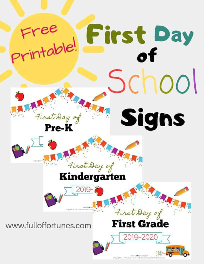 Grab these free printable First Day of School Signs by grade level!